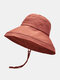 Women Cotton And Linen Solid Color Big Brim Sun Protection Bucket Hat - Rust Red