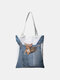 Women Canvas Cat Dog Handbag Shoulder Bag Tote - #01