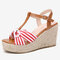 LOSTISY Women Cross Striped Band T-Strap Beach Espadrille Wedges Sandals - Red