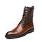 Men High Top Lace-up Cowboy Synthetic Leather Antislip Rubber Outsole Wear-Resistant Boots - Brown