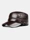Men Cowhide Genuine Leather Military Cap Earflap Flat Cap - #05