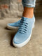 Large Size Soft Comfy Breathable Solid Color Knit Elastic Band Sneakers For Womens - Blue