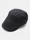 पुरुष पत्र कढ़ाई ठोस रंग आकस्मिक फैशन Sunvisor फ्लैट टोपी आगे टोपी टोपी टोपी - अंधेरे भूरा