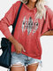 Feather Printed Long Sleeve Hoodie For Women - Red