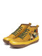 Plus Size Women Comfy Splicing Soft Lace Up Cat Printing Flat Ankle Boots - Yellow