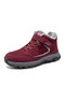 Women Casual Stitching Warm Lining Wearbale Hook & Loop Sports Shoes - Red