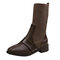 Women Breathable Knitted Leather Splicing Comfy Non Slip Fashion Motorcycle Short Sock Boots - Brown