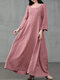 Solid Color A-Line Long Sleeve Maxi Cotton Loose Dress - Pink