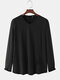 Mens Pure Color Tag V-Neck Knitted Sporty Long Sleeve T-Shirts - Black