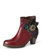 SOCOFY Vintage Genuine Leather Embroidery Splicing Warm Lining Comfy Chunke Heel Short Boots - Wine Red