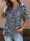 Leopard Print V-neck Loose Short Sleeve Women Blouse - Black