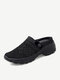 Women Brief Casual Solid Color Knitted Mesh Lazy Slip-On Walking Shoes - Black