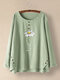 Flower Printed Long Sleeve O-neck Button Blouse For Women - Green