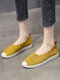 Women Casual Breathable Elastic Band Solid Knitted Flats - Yellow