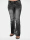 Beading Solid Color Mid Waist Casual Jeans For Women - Black