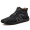 Men Rubber Toe Cap Hand Stitching Microfiber Leather Ankle Boots - Black