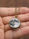 Double-Sided Glass Ball Women Necklace Gray Moon Pendant Necklace Jewelry - Bronze