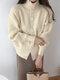Cárdigan de manga farol con botones y cuello alto de talla grande - Albaricoque