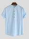 Men Cotton Linen Retro Solid Casual Henley Shirt - Light Blue