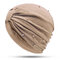 Womens Breathable Comfortable Pearl Headpiece Casual Elastic Beanie Hats Muslim Pile Heap Cap - Khaki