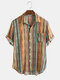 Mens Casual Cotton Striped Patch Pocket Short Sleeve Shirts - Yellow