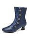 Женщины сплошной цвет синтетическая кожа сращивание удобные носимые боковые молнии пятка короткие Ботинки - синий