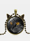Vintage Stereoscopic Black Cat Face Printed Women Necklace Cat Ear Pendant Necklace - Bronze