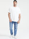 Plus Size Mens Solid Color O-Neck Short Sleeve Basic Casual T-Shirt - White
