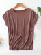 Plain Knit Dolman Sleeve O-neck Plus Size Casual T-shirt - Wine Red