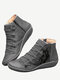 Plus Size Women Casual Cat Printing Side Zipper Flat Ankle Boots - Gray