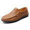 Men Hand Stitching Genuine Leather Hole Non-slip Slip On Casual Shoes - Yellow