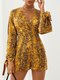 Snake Cobra Print Knotted Slit Cuff Long Sleeve V-Neck Sexy Romper - Yellow
