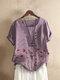 Blumendruck Knopf O-Ausschnitt Kurzarm Casual T-Shirt Für Damen - lila