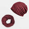 Hollow Breathable Beanie Hat Sunscreen Thin Scarf Hat Dual-use Cap - Wine Red
