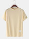 Mens Plain Fruit Embroidered  Breathable O-Neck T-Shirts - Apricot