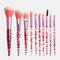 10Pcs / Kit مجموعة فرش المكياج Flash Diamond Drift Sand Makeup Brush Eyebrow Eyeshadow Brush - زهري