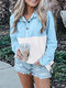Patchwork Printed Casual Long Sleeve Blouse For Women - Blue