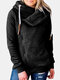 Solid Color Zip Front Casual Hoodie For Women - Black