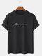 メンズレタースクリプトプリントカジュアル100%コットン半袖Tシャツ - 黒