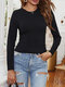 Solid Color Backless Knotted Long Sleeve Casual T-shirt for Women - Black