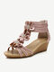 Women Casual Flowers Bohemian Wedges T-Strap Sandals - Pink
