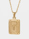 Vintage Gold Square Stainless Steel Letter Pattern Pendant - Y