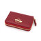 Women Genuine Leather 9 Card Slot Card Holder Solid Coin Purse
