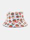 Unisex Cotton Cartoon Fruit Pattern Printing Fashion Sunshade Bucket Hat - White Strawberry