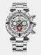 Multifunctional Men Business Watch Luminous Chronograph Calendar Quartz Watch - Silver Case White Dial
