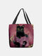 Women Felt Cat Pattern Handbag Shoulder Bag Tote - Red