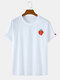 Mens Cotton Strawberry Print Solid Color Casual Loose O-Neck T-Shirts - White
