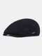 Men Ear Protection Winter Outdoor Solid Color Casual Universal Plus Thicken Beret Hat Flat Cap - Navy
