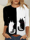 Cartoon Cat Print O-neck Long Sleeve Plus Size T-shirt for Women - Black