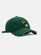ユニセックスコットンブロークンホールレター漫画スマイルフェイス刺繡布ラベルオールマッチ日焼け止め野球帽 - 緑